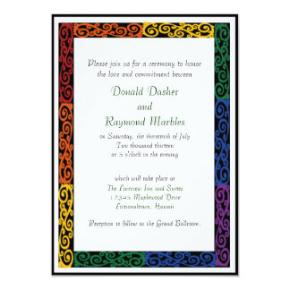 Fancy Gay Pride Custom Commitment Ceremony Invites
