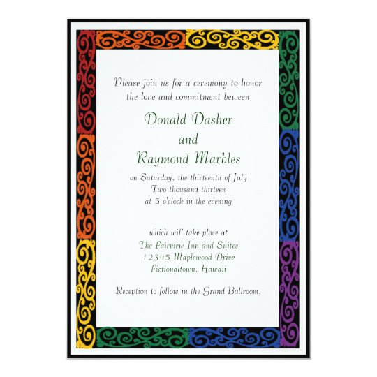 Fancy Gay Pride Custom Commitment Ceremony Invites Zazzle Com