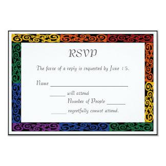 Fancy Gay Pride Custom Commitment Ceremony RSVP Card