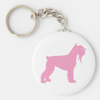 Fancy Giant Schnauzer (pink) Basic Round Button Keychain