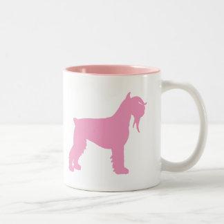 Fancy Giant Schnauzer (pink) Two-Tone Coffee Mug