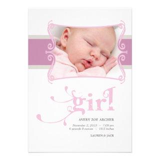 Fancy Girl Custom Photo Birth Announcement
