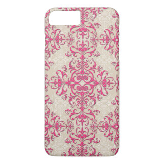 Fancy Girly Pink and Off White Damask Style iPhone 7 Plus Case