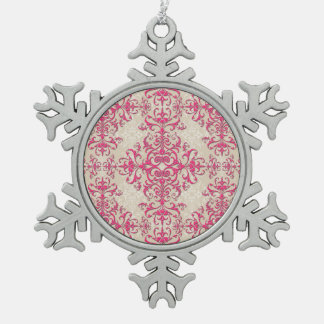 Fancy Girly Pink and Off White Damask Style Ornaments