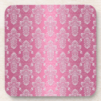 Fancy Girly Pink and White Damask Drink Coaster