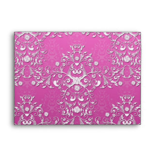 Fancy Girly Pink Two Tone Floral Damask Envelope