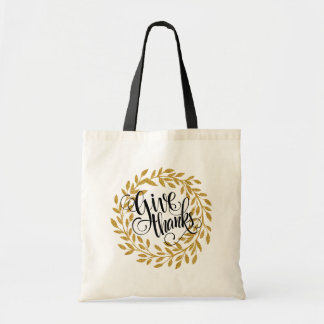 Fancy Give Thanks Text With Gold Wreath Tote Bag