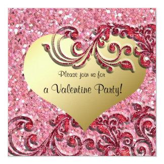 Fancy Glitter Gold Heart Valentine Invitation