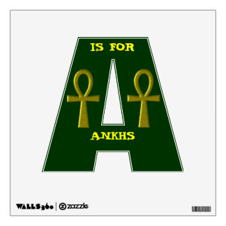 """Fancy Gold """"A Is For Ankhs"""" Wall Decal"""