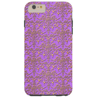 Fancy Gold and Fucshia Damask Pattern Floral Tough iPhone 6 Plus Case