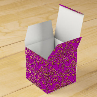 Fancy Gold and Fucshia Floral Damask Favor Box
