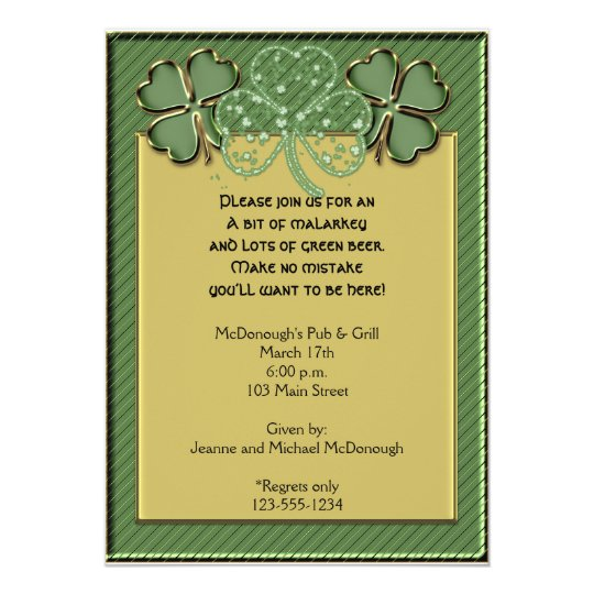 Fancy Gold and Green Shamrock Party Invitation
