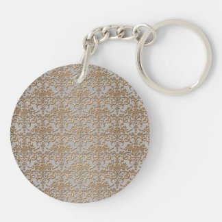 Fancy Gold and Grey Damask Pattern Keychain