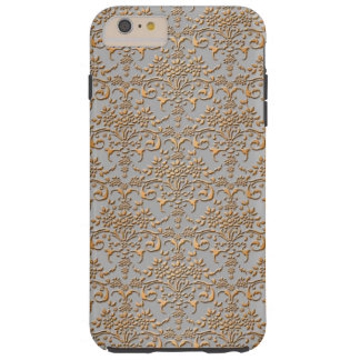 Fancy Gold and Silver Damask Pattern Floral Tough iPhone 6 Plus Case