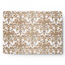 Fancy Gold and White Damask Pattern Envelope