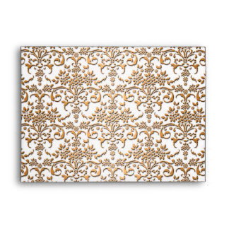 Fancy Gold and White Damask Pattern Envelope
