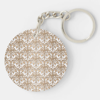 Fancy Gold and White Damask Pattern Keychain