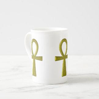 Fancy Gold Ankh Bone China Mug