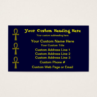 Fancy Gold Ankh Business Card