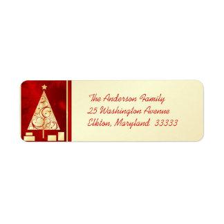 Fancy Gold Christmas Tree - Return Address Labels