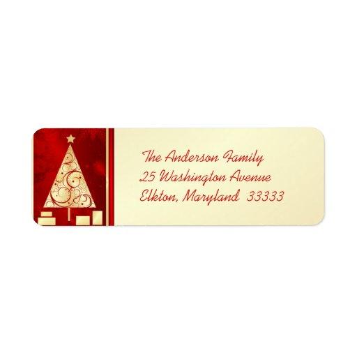 Fancy Gold Christmas Tree  Return Address Labels Zazzle