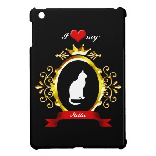 Fancy Gold Frame Red Heart Ribbon Cat Silhouette Cover For The iPad Mini