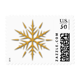 Fancy Gold Glitter Winter Snowflake Postage