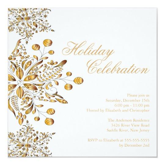Fancy Gold Jewel Snowflakes Holiday Party Card