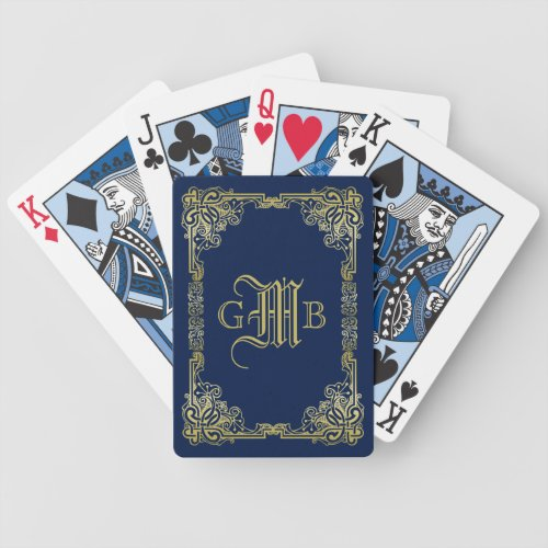 Fancy Gold Monogram Choose Your Background Color Bicycle Playing Cards