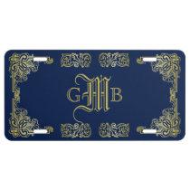 Fancy Gold Monogram Choose Your Background Color License Plate