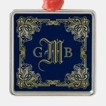 Fancy Gold Monogram Choose Your Background Color Metal Ornament