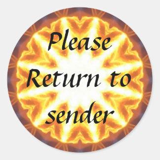 Fancy Gold Return to Sender round sticker