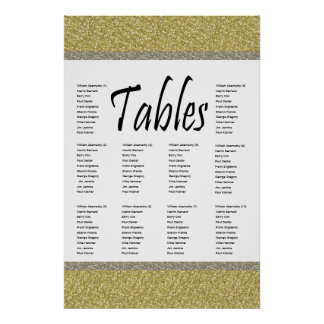 Fancy Gold Silver Glitter Design Seating Chart Poster