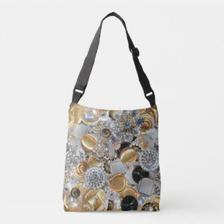 Fancy Gold Silver Jewels Baubles And Buttons Crossbody Bag