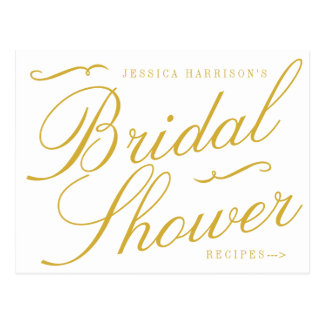 Fancy Gold & White Bridal Shower Recipe Cards