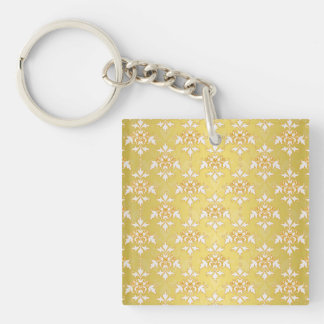 Fancy Gold Yellow Saffron Damask Keychain