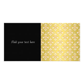 Fancy Gold Yellow Saffron Damask Photo Greeting Card