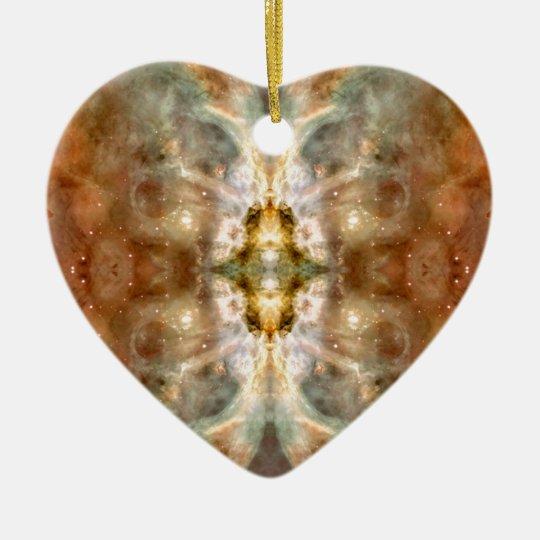 Fancy Golden Butterfly Space Art Ceramic Ornament