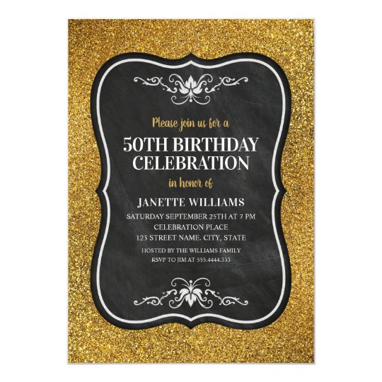 Fancy Golden Glitter Adult 50th Birthday Party Invitation