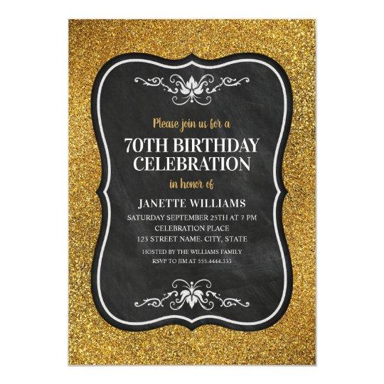 Fancy golden glitter adult 70th birthday party invitation zazzle fancy golden glitter adult 70th birthday party invitation filmwisefo