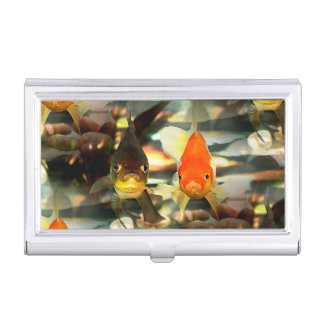 Fancy Goldfish Faces Watercolor Image Business Card Holder