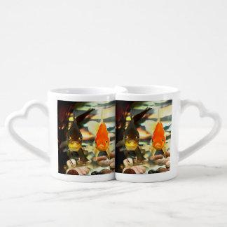 Fancy Goldfish Faces Watercolor Image Coffee Mug Set