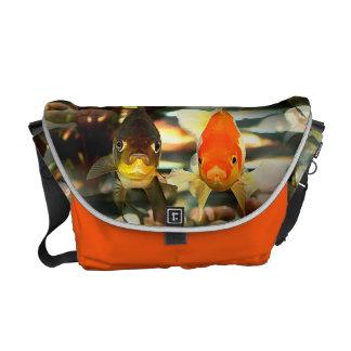 Fancy Goldfish Faces Watercolor Image Courier Bag