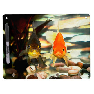 Fancy Goldfish Faces Watercolor Image Dry Erase Board With Keychain Holder