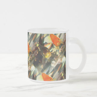 Fancy Goldfish Faces Watercolor Image Frosted Glass Coffee Mug