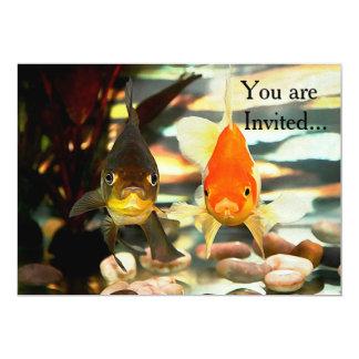 Fancy Goldfish Faces Watercolor Image 5x7 Paper Invitation Card
