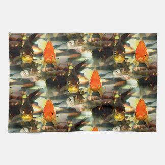 Fancy Goldfish Faces Watercolor Image Towels