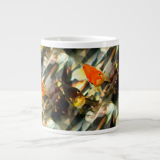 Fancy Goldfish Faces Watercolor Image Large Coffee Mug