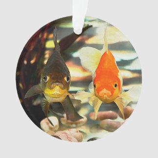 Fancy Goldfish Faces Watercolor Image Ornament