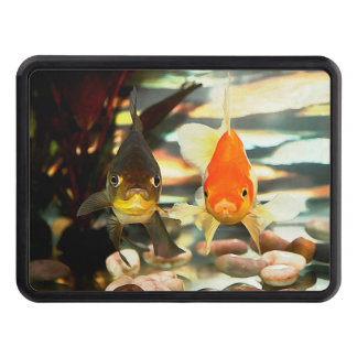 Fancy Goldfish Faces Watercolor Image Trailer Hitch Covers
